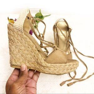 Stuart Weitzman Tan Suede Wedge Espadrille Sandals